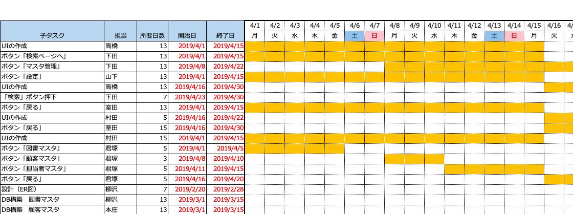 管理 Excel スケジュール